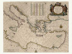 Ostliches Mittelmeer Alte Dekorative Seekarte Goos 1667 Papier