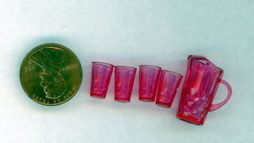 Miniature Dollhouse Chrysnbon Pitcher and 4 glasses Cranberry