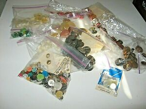 LOT-100s-Buttons-1-Lb-Mixed-Vintage-New-Metal-Plastic-Sewing-Craft-Dolls