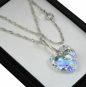 925-Sterling-Silver-Necklace-Crystal-AB-18mm-Heart-Crystals-from-Swarovski