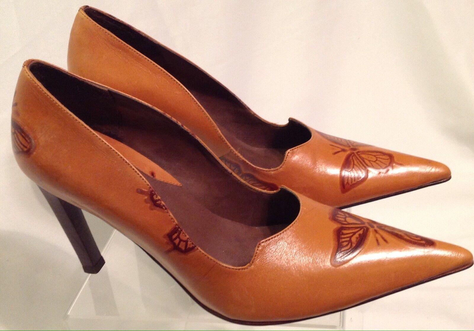 SCHUTZ Pumps Stiletto 9B EU 40 Schuhes Braun Beauty Butterfly Leder Embossed