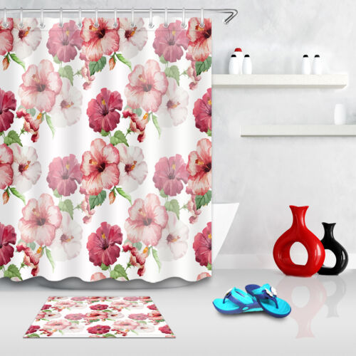 Hibiscus Flower Shower Curtain Set Bathroom Fabric Curtains Waterproof Liner New
