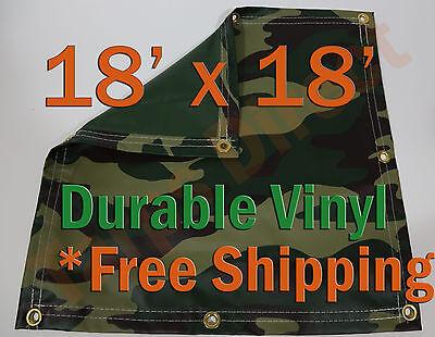 Trend Mark 18 X 18' Heavyweight Vinyl Camo Camouflage Tarp Ground Cover Blind Hunting Home & Garden Garden Structures & Shade