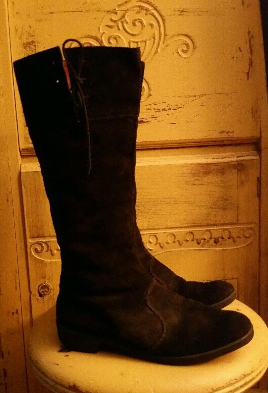 VINTAGE FUR 70'S ANTARTEX SHEARLING LAMB FUR VINTAGE Stiefel schwarz SUEDE RIDING ENGLAND 6 M 67c492