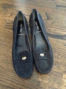 987146047d8b Miu Miu Black Suede Kitten Heel Penny Loafer Shoes Size 6 | eBay