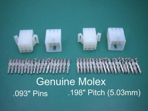 "9 Pin Molex Connector Set of 2 Complete 9 Circuit Connectors  w// .093/"" Pins"