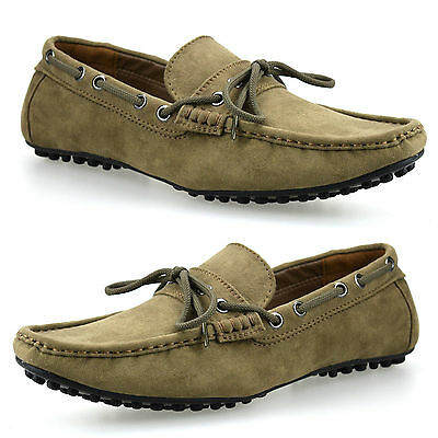 Mens Faux Suede Slip On Casual Boat Mocassin Designer Loafers Driving Shoes Size