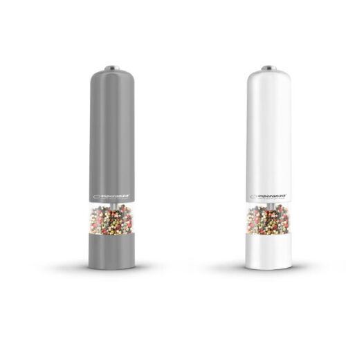 Elektrische Pfeffermühle Salzmühle Mühle Streuer Set LED beleuchtet weiß grau