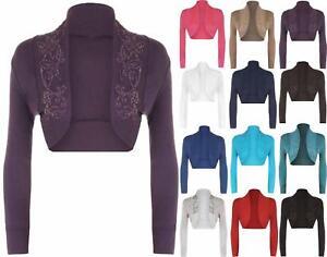 Womens-Ladies-Beaded-Long-Sleeve-Crop-Collared-Ribbed-Bolero-Shrug-Cardigan-Top