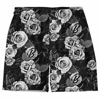 Beloved Black & White Floral Weekend Shorts Small-xlarge Made In The Usa