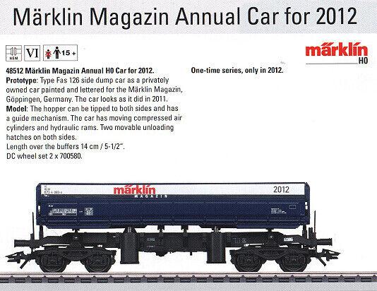 Marklin HO MOHI NOS 48512 2012 Annual Marklin Magazin Car - Limited