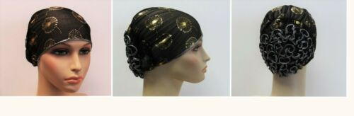 Women/'s Black Gold Turban Hat Cap Cancer Chemo Hat One Size Stretch Shimmer Bun