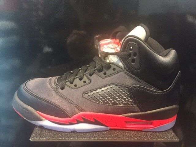 cheap for discount 20b7f ade14 Nike Air Jordan Retro 5 Satin Black Red Bred GS PS TD Baby Kid Women Size  1C-7Y
