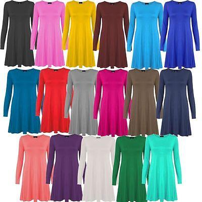 Ladies Plus Size Floaty Hem Swing Dress Long Sleeve Jersey Knee Swing Dress 8-26