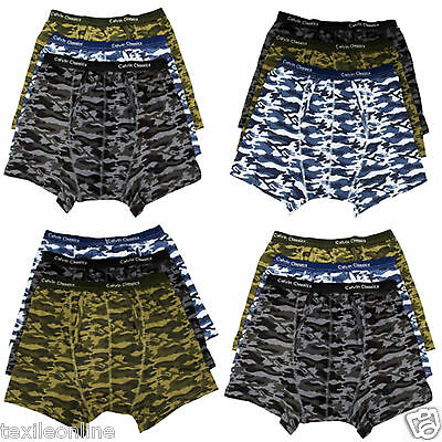 Mens Boys Camouflage Underwear Boxer Shorts In 3 Pack Army Print Multi S-M-L-XXL
