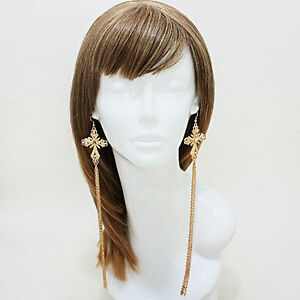 Cross-Drop-Earrings-Shoulder-Duster-Elongated-Fringe-W-Crystals-Silver-or-Gold