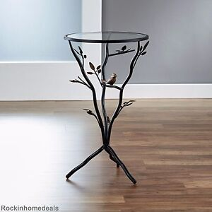 End Table Glass Top Metal Bronze Base Room Nature Bird