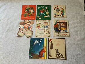 Lot-Of-8-Vtg-1950s-Greeting-Cards-Birthday-Christmas-Get-Well-3-Pop-Up-Cards