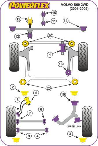 Diesel POWERFLEX Upper Engine Mount Cross Shape PFF88-623 Volvo S80 Mk1 2000