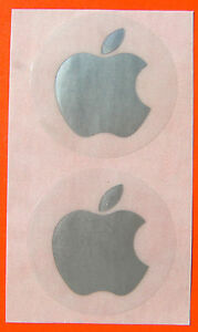 Apple-logo-stickers-in-SILVER-unusual-set-of-two-40mm-across-NEW