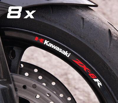 8 x ZX-6R zx6r small wheel decals rim stickers laminated set zxr zx 600 red