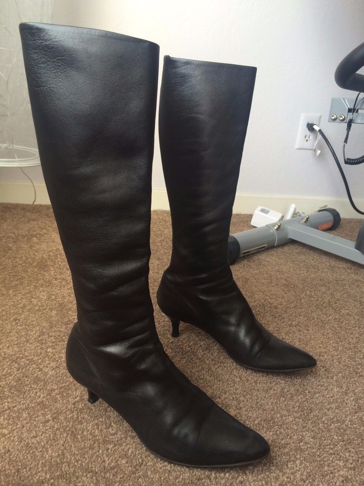 AUTH HELMUT LANG KNEE HIGH BOOTS Sz 36 1/2 IT / 6.5 IT