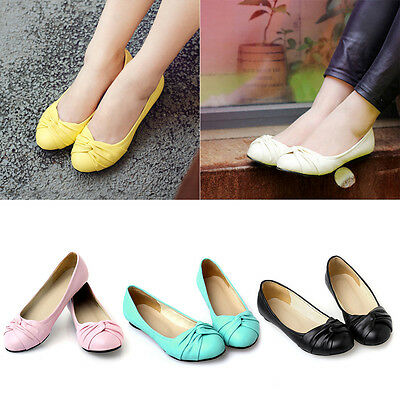 New Women Lady Basic Round Toe Ballet Flats Slip on Loafer Shoes Candy Colors DM