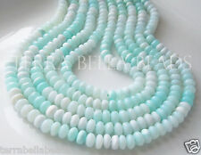 """8"""" shaded light blue PERUVIAN OPAL smooth gem stone rondelle beads 7.5mm - 8mm"""