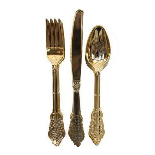 Ornate Gold Plastic Cutlery Wedding Party 18 pack