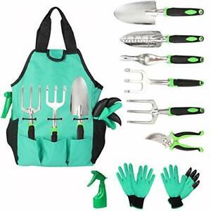 Aladom Garden Tools Set 10 Pieces Gardening Kit with Heavy Duty Aluminum Hand...