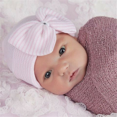 Newborn Baby Infant Hat Swaddle Blanket Sleeping Bag Wrap Headband Beanie Cap UK