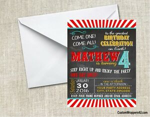 Circus Carnival Chalkboard Birthday Party Invitations Personalized Custom