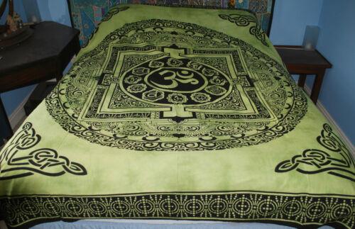 Nouvelle OM double couvre-lit throw Hippy commerce équitable BOUDDHISME TIBET hindou népal hippie