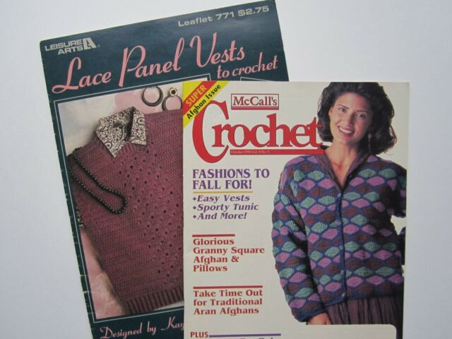 McCall's Crochet Magazine + Lace Panel Vests Tunic Afghans BabyBlanket Layette