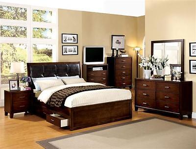 Brown Cherry Bedroom Set Enrico Bed, Dresser, Mirror & Nightstand For Bedroom