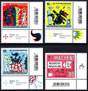 3522-3523-3524-3525-postfrisch-Ecke-Eckrand-rechts-unten-BRD-Bund-2020