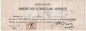 Clásico 1923 Americano Consular Service Alien Declaration & Tarifa Sello