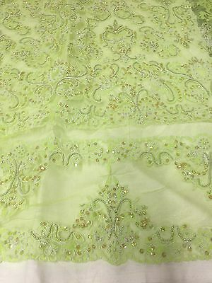 """GREEN MESH W/WHITE CORDED BEADED SEQUINS BRIDAL LACE FABRIC 50"""" WIDE 1 YARD"""
