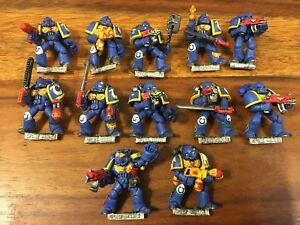 Ultramarines X9 Space Marines bien peint Metal Warhammer 40k des années 90