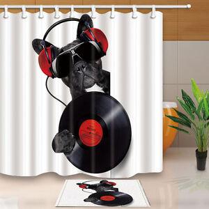 Rock Dog Design Bathroom Waterproof Fabric Shower Curtain