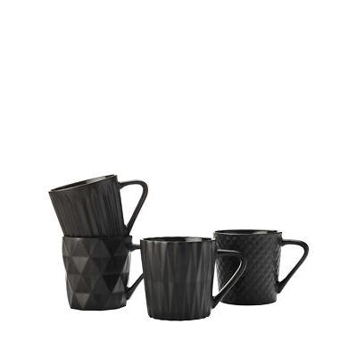 NEW Maxwell & Williams Cosmos Mug Set of 4 400ML Matte Black Gift Boxed