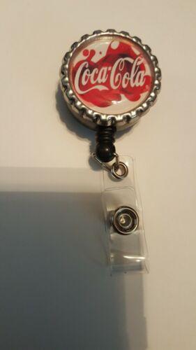 Coke coca cola work Retractable Reel ID Badge Holder nurse dr secretary xray rn