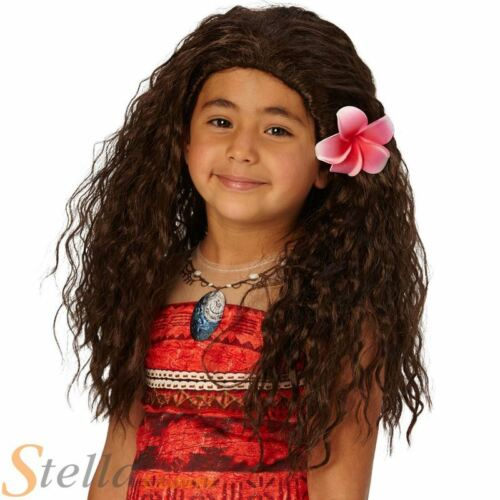 Moana Wig Girls Disney Princess Book Week Film Fancy Dress Costume Accessory