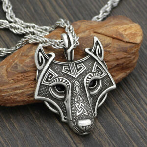 Norse viking pendant norse wolf head mens cord rope chain necklace image is loading norse viking pendant norse wolf head mens cord aloadofball Image collections