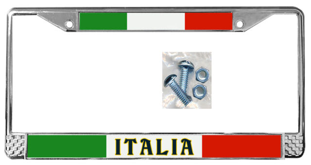 Italian Flag License Plate Frame Gift Polished Metal Italy Metals ...