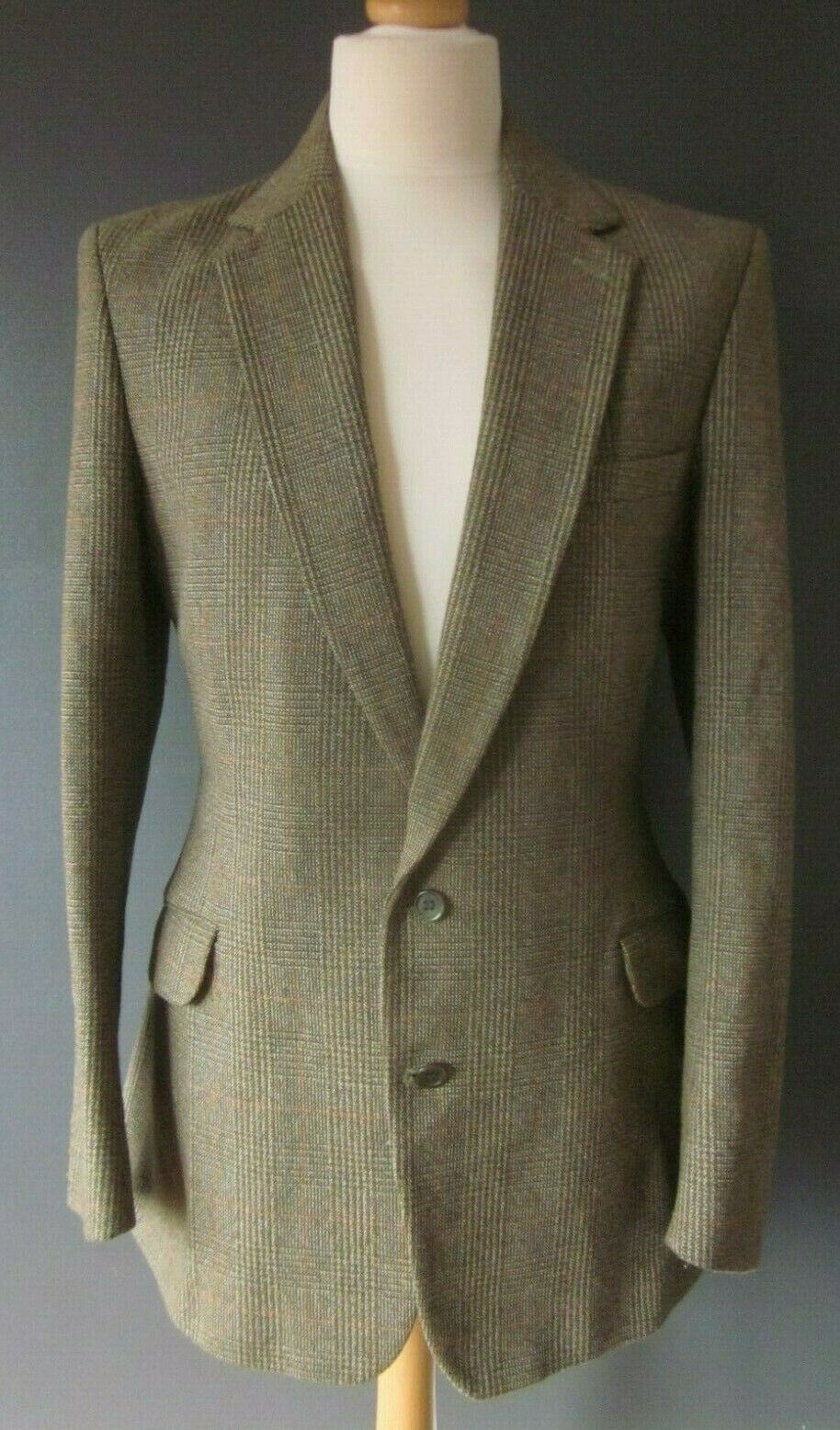 Vintage JOHN BROCKLEHURST TWEED BLAZER (40) Cuadros Lana de disparo GOODWOOD Fawn