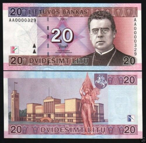 LITHUANIA 20 LITU P66 2001 AA VERY LOW SERIAL # UNC EURO HORSE MUSEUM MONEY NOTE