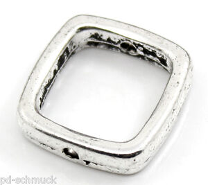 P-D-30-Silber-Quadrat-Spacer-Rahmenperlen-fuer-10mm-Perlen-Beads-New