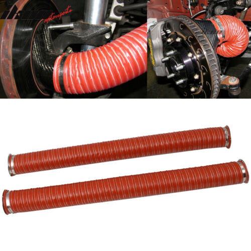 Universal Brake Cooling Dual Layer Insulation Hose W// Flange 3.5 Inch 2 Pc