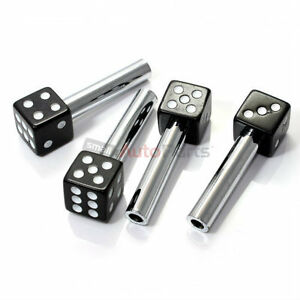 4 custom black dice interior door lock knobs pins for car truck hotrod classic ebay. Black Bedroom Furniture Sets. Home Design Ideas